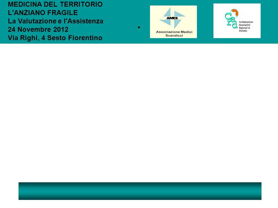 . MEDICINA DEL TERRITORIO L ANZIANO FRAGILE La Valutazione e l Assistenza 24 Novembre 2012 Via Righi, 4 Sesto Fiorentino.