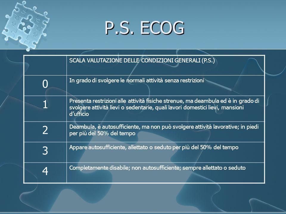 P.S. ECOG 1 2 3 4 SCALA VALUTAZIONE DELLE CONDIZIONI GENERALI (P.S.)