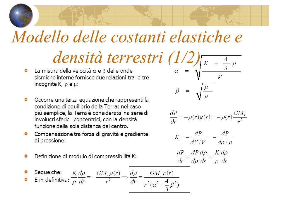 Modello delle costanti elastiche e densità terrestri (1/2)