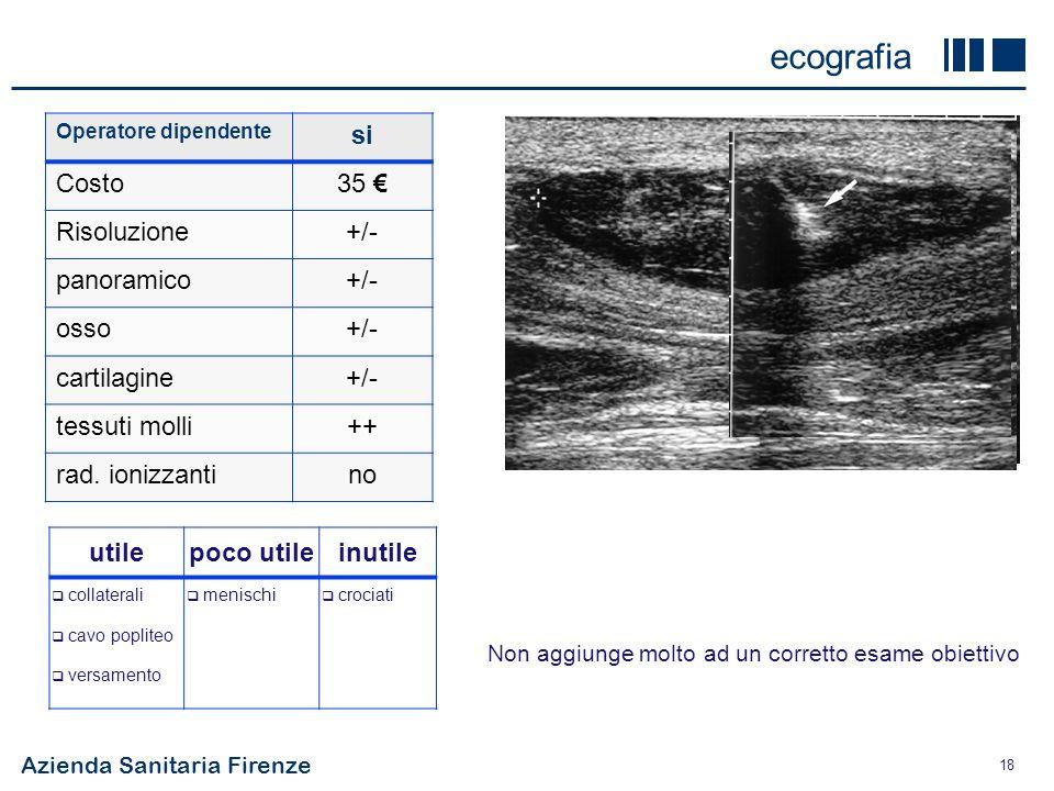 ecografia si Costo 35 € Risoluzione +/- panoramico osso cartilagine