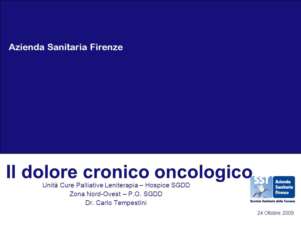 Il dolore cronico oncologico