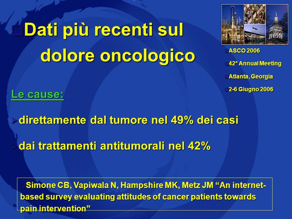 Dati più recenti sul dolore oncologico