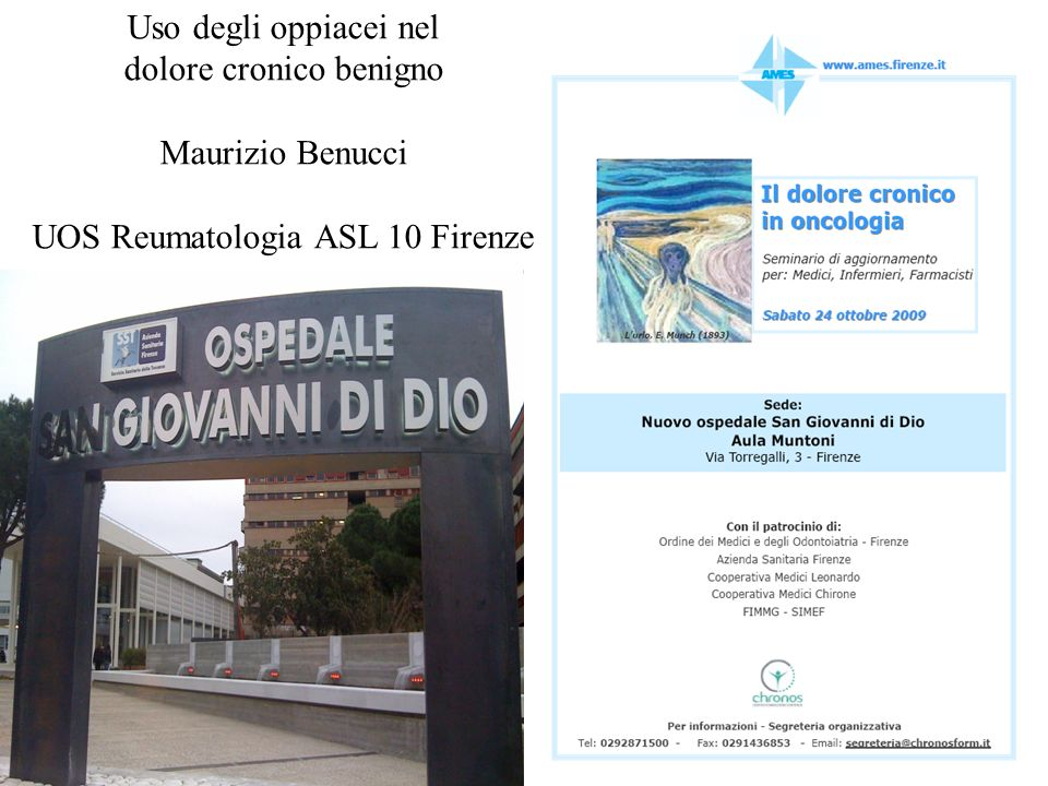dolore cronico benigno Maurizio Benucci