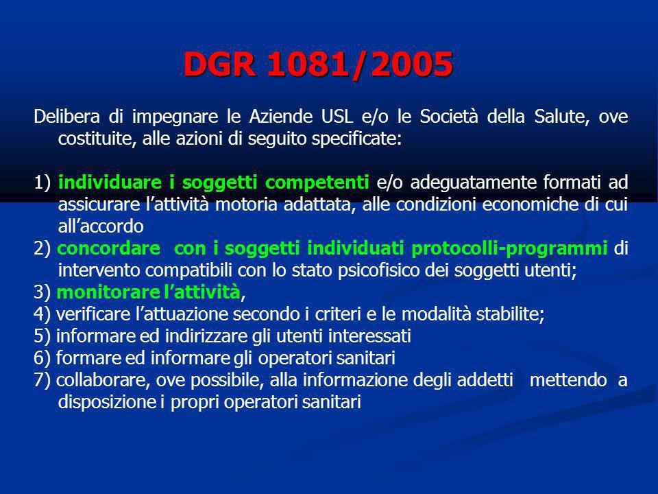 DGR 1081/2005 Delibera di impegnare le Aziende USL e/o le Società della Salute, ove costituite, alle azioni di seguito specificate:
