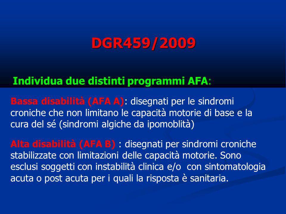 DGR459/2009 Individua due distinti programmi AFA: