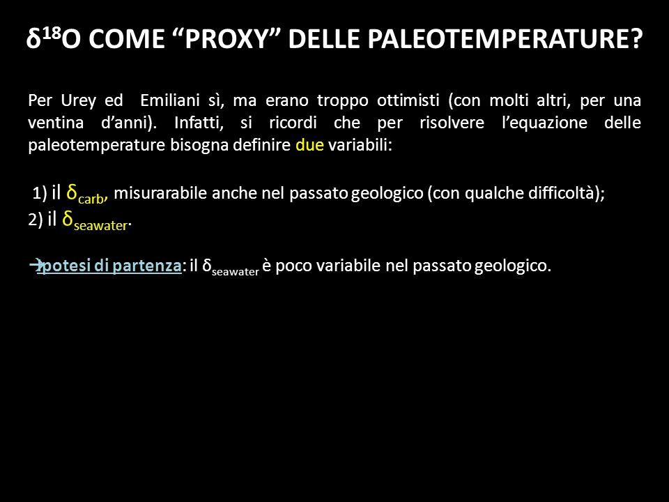 δ18O COME PROXY DELLE PALEOTEMPERATURE
