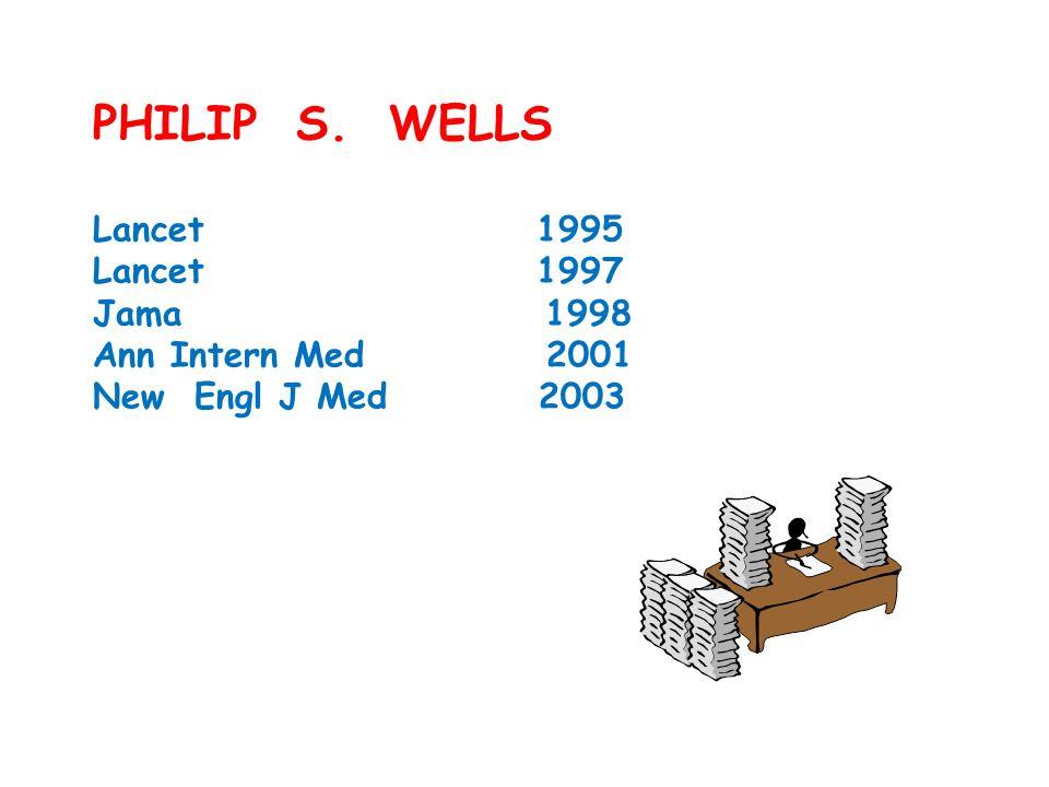 PHILIP S. WELLS Lancet 1995 Lancet 1997 Jama 1998 Ann Intern Med 2001