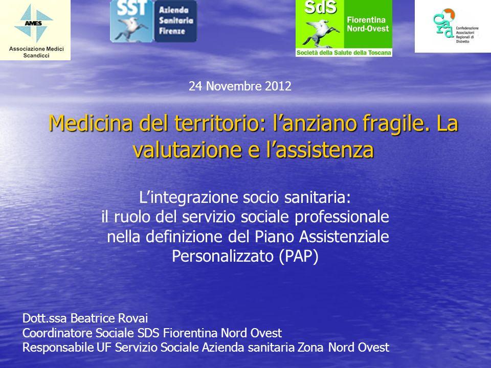 24 Novembre 2012 Medicina del territorio: l'anziano fragile. La valutazione e l'assistenza. L'integrazione socio sanitaria: