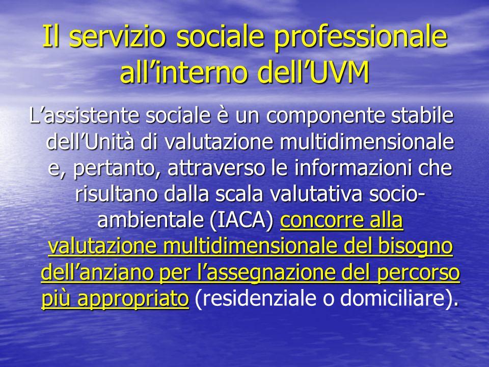 Il servizio sociale professionale all'interno dell'UVM