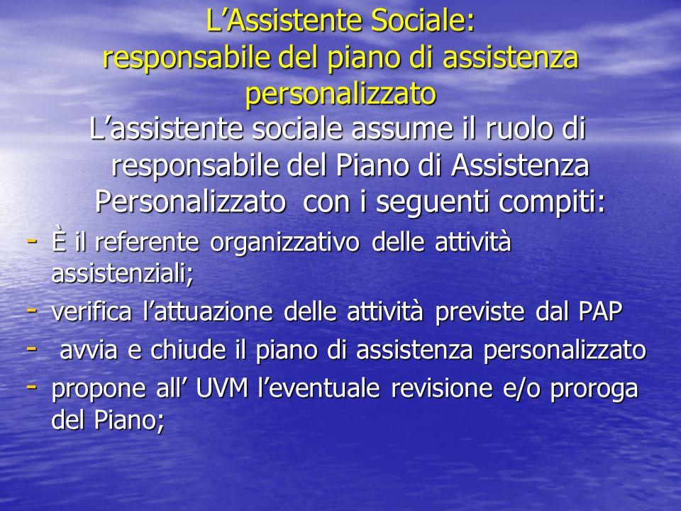 L'Assistente Sociale: responsabile del piano di assistenza personalizzato