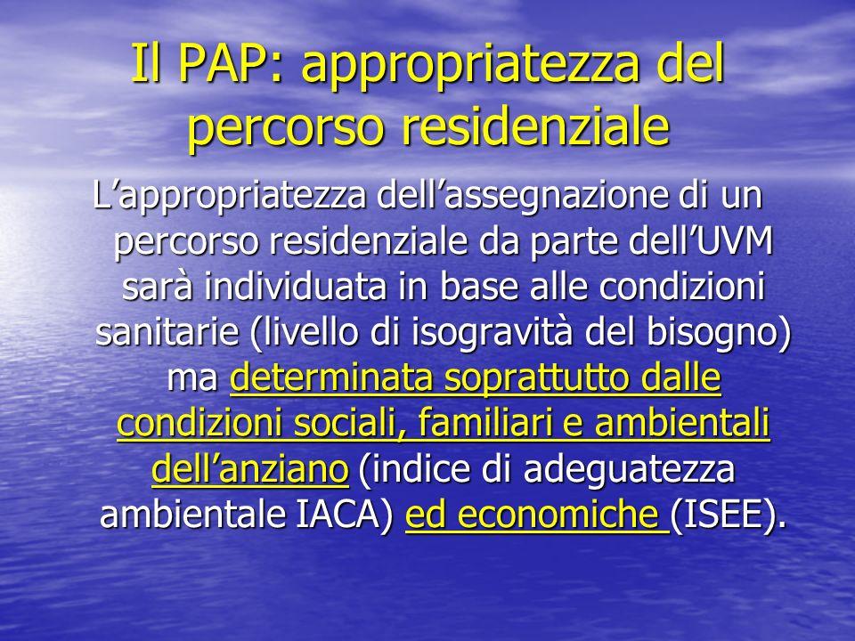 Il PAP: appropriatezza del percorso residenziale