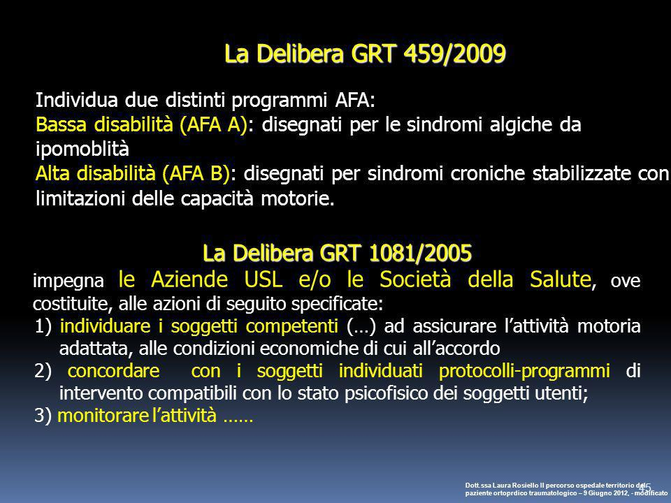 La Delibera GRT 459/2009 La Delibera GRT 1081/2005