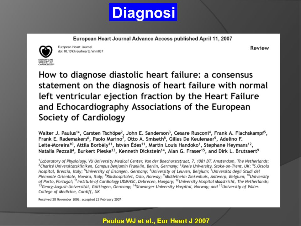 Diagnosi Paulus WJ et al., Eur Heart J 2007