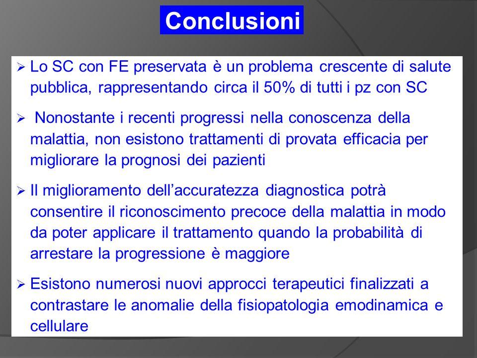 Conclusioni Lo SC con FE preservata è un problema crescente di salute pubblica, rappresentando circa il 50% di tutti i pz con SC.