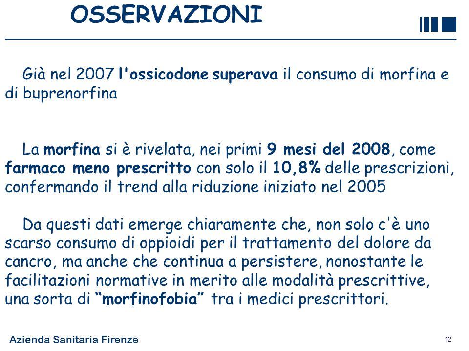 OSSERVAZIONI Già nel 2007 l ossicodone superava il consumo di morfina e di buprenorfina.