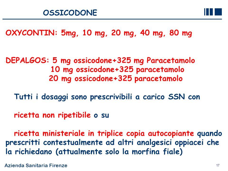 OSSICODONE OXYCONTIN: 5mg, 10 mg, 20 mg, 40 mg, 80 mg