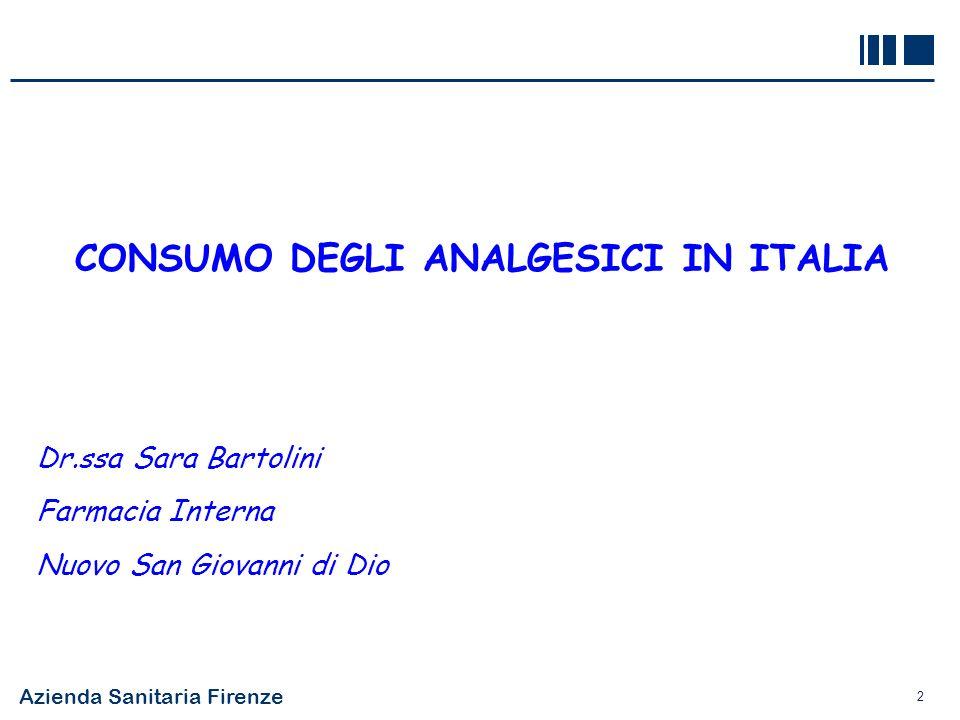CONSUMO DEGLI ANALGESICI IN ITALIA