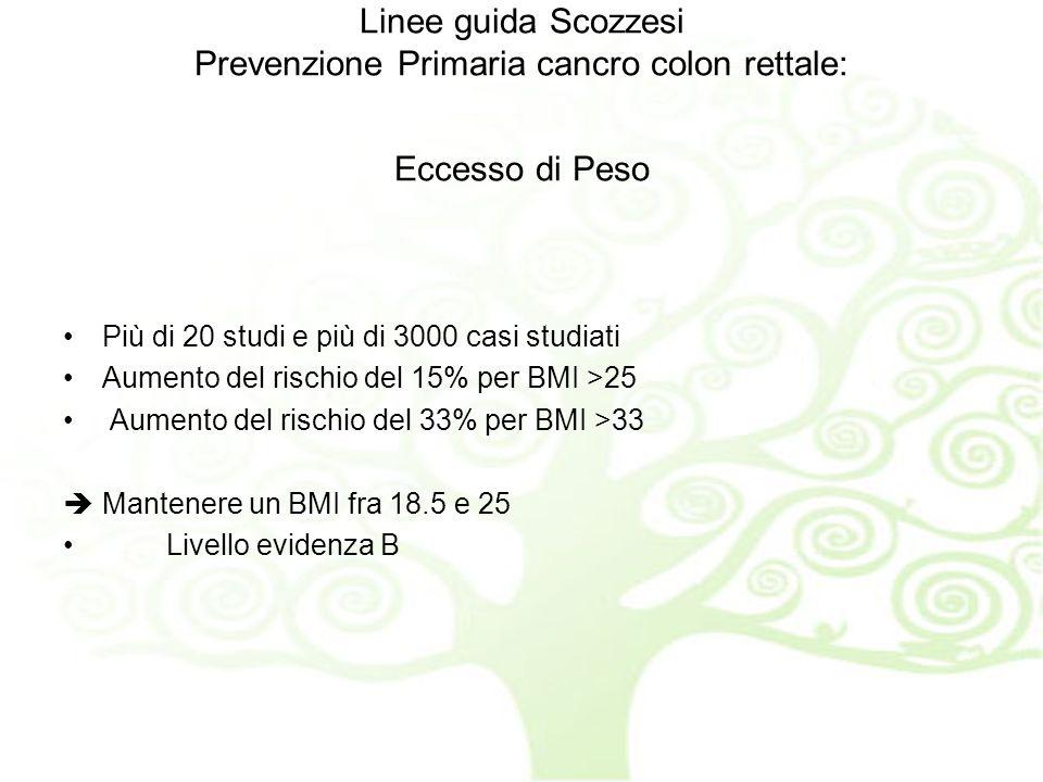 Linee guida Scozzesi Prevenzione Primaria cancro colon rettale: Eccesso di Peso