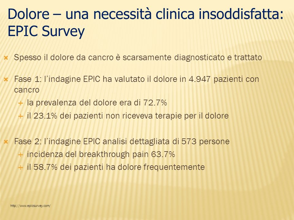 Dolore – una necessità clinica insoddisfatta: EPIC Survey