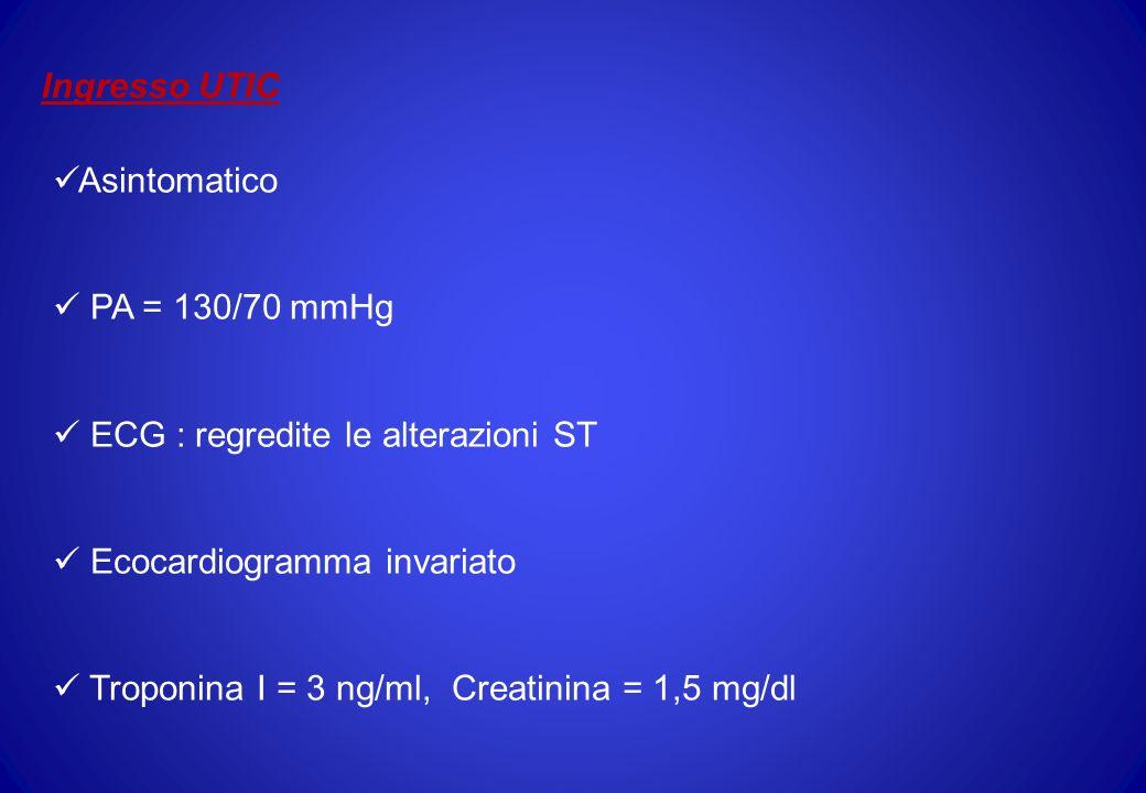 Ingresso UTIC Asintomatico. PA = 130/70 mmHg. ECG : regredite le alterazioni ST. Ecocardiogramma invariato.