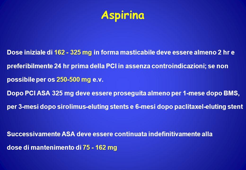 Aspirina Dose iniziale di 162 - 325 mg in forma masticabile deve essere almeno 2 hr e.