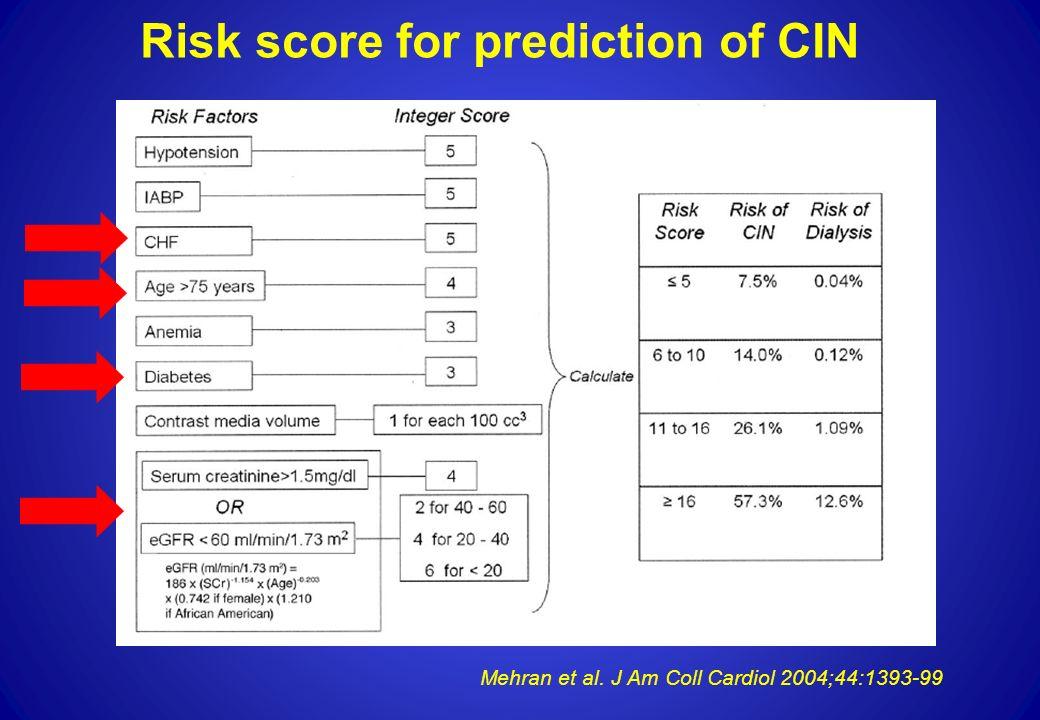Risk score for prediction of CIN