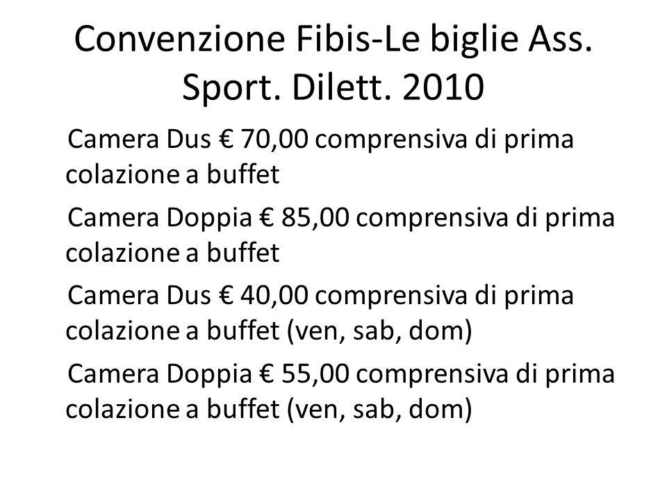 Convenzione Fibis-Le biglie Ass. Sport. Dilett. 2010