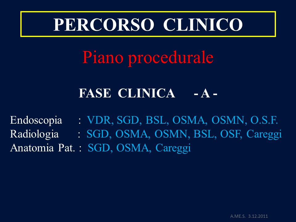 PERCORSO CLINICO Piano procedurale FASE CLINICA - A -