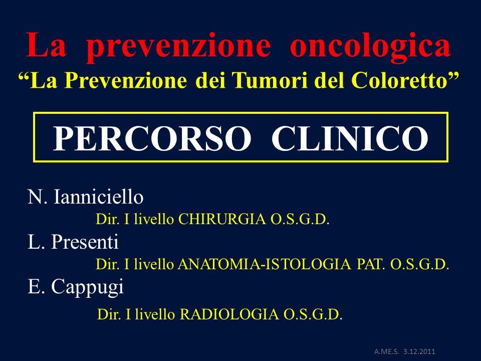 La prevenzione oncologica La Prevenzione dei Tumori del Coloretto