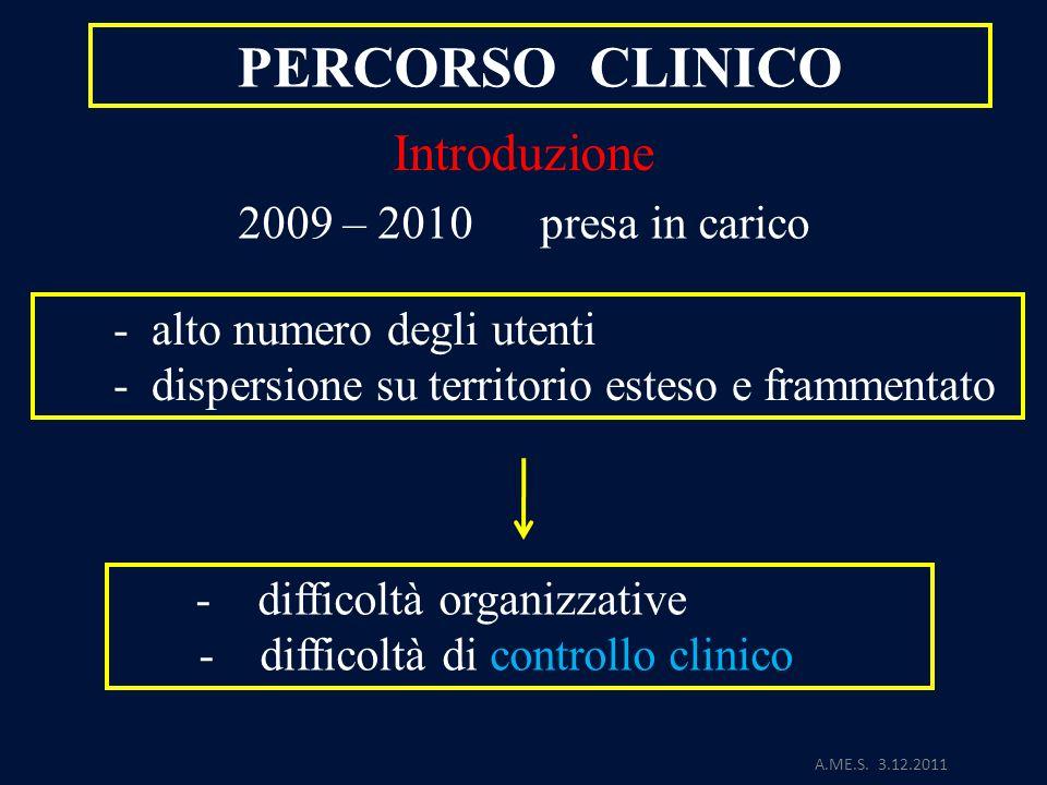 PERCORSO CLINICO Introduzione 2009 – 2010 presa in carico