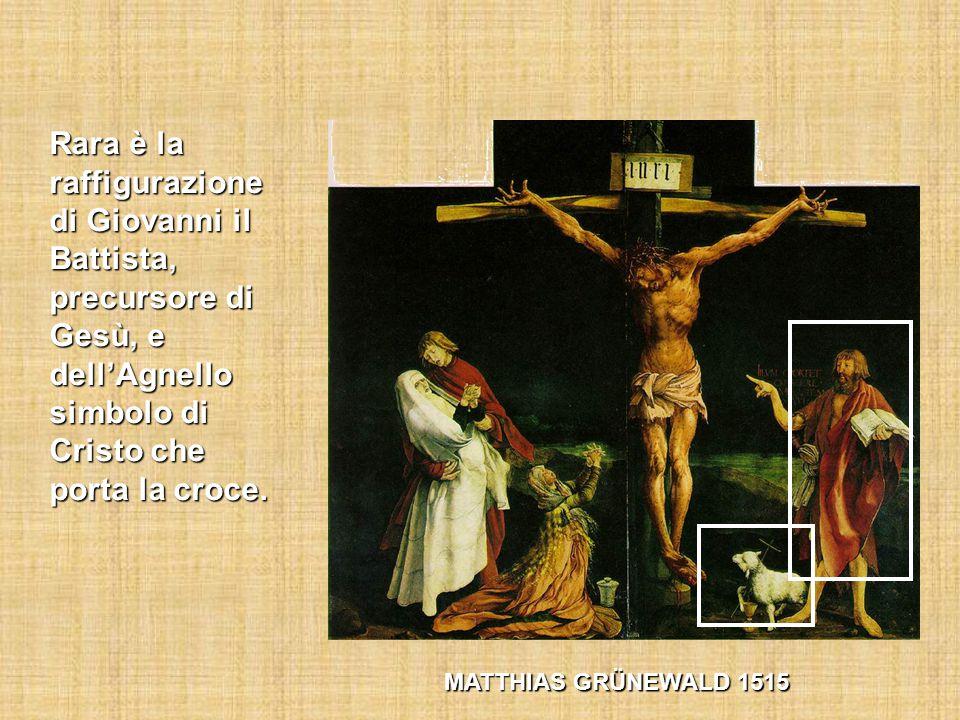Rara è la raffigurazione di Giovanni il Battista, precursore di Gesù, e dell'Agnello simbolo di Cristo che porta la croce.