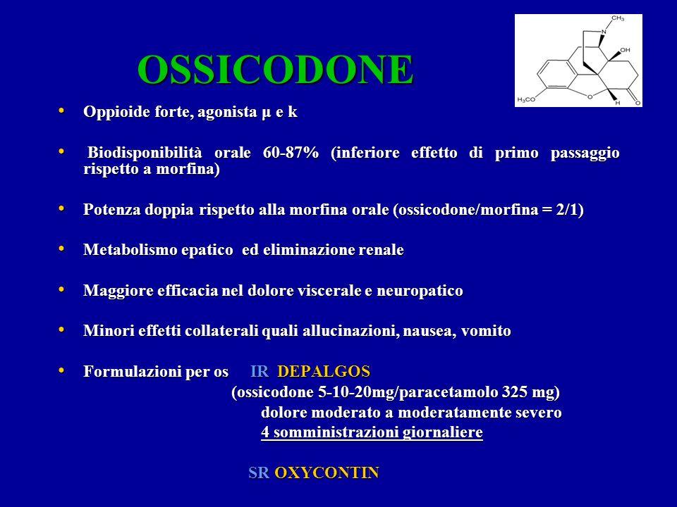 OSSICODONE Oppioide forte, agonista μ e k