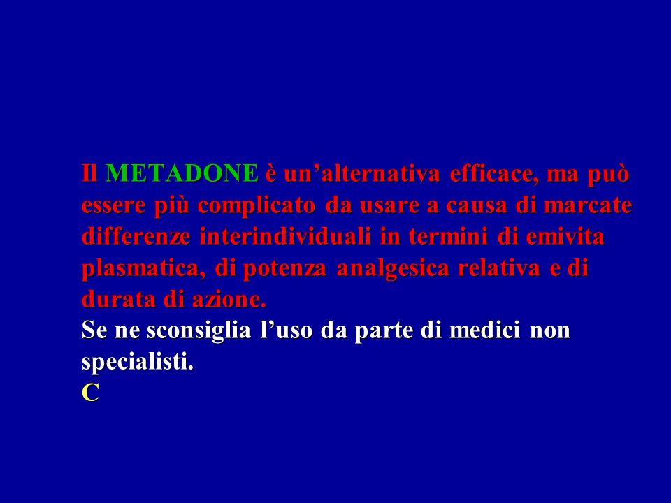 Il METADONE è un'alternativa efficace, ma può essere più complicato da usare a causa di marcate differenze interindividuali in termini di emivita plasmatica, di potenza analgesica relativa e di durata di azione.