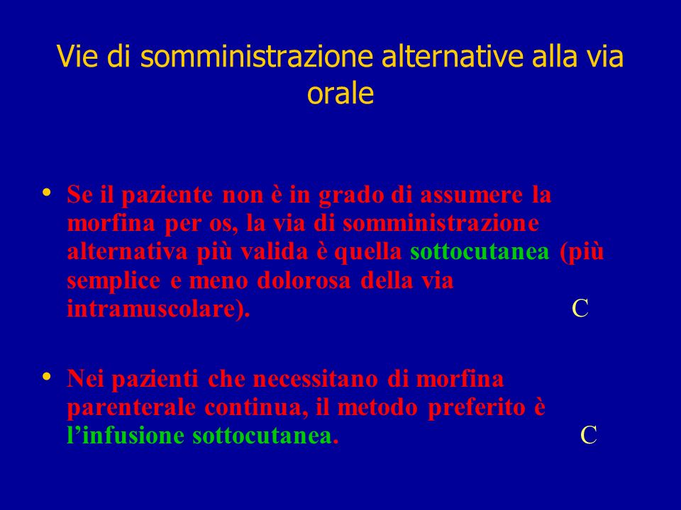 Vie di somministrazione alternative alla via orale