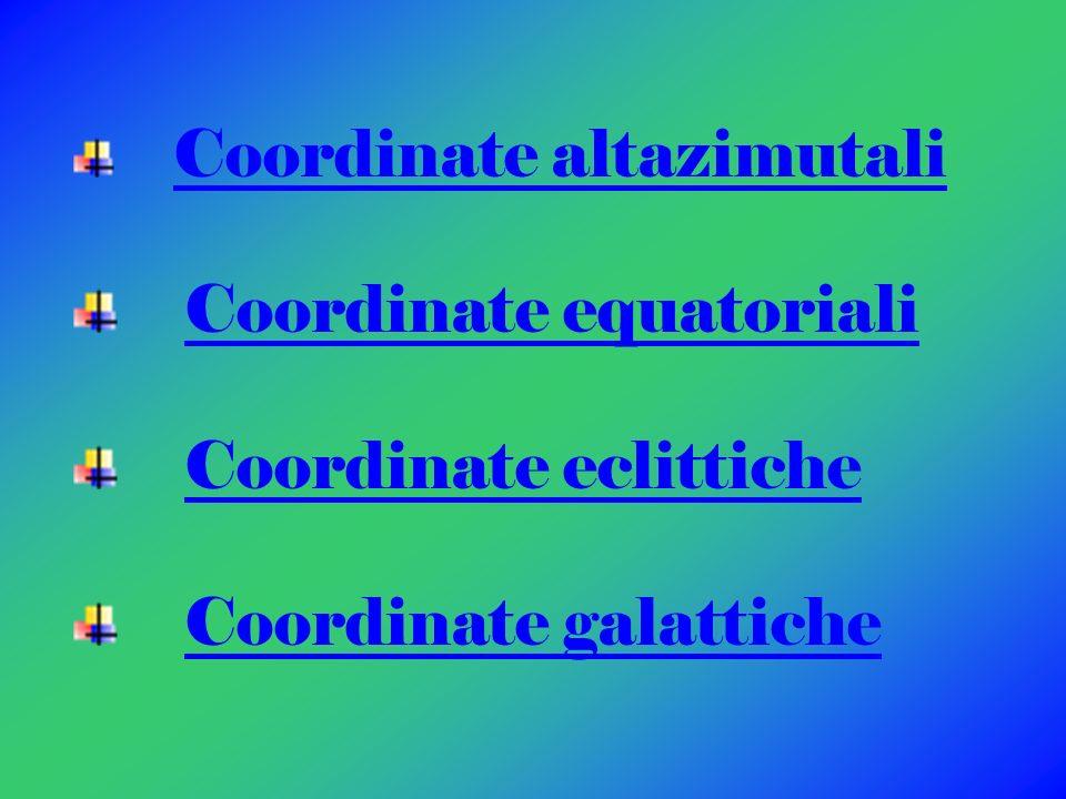 Coordinate equatoriali Coordinate eclittiche Coordinate galattiche