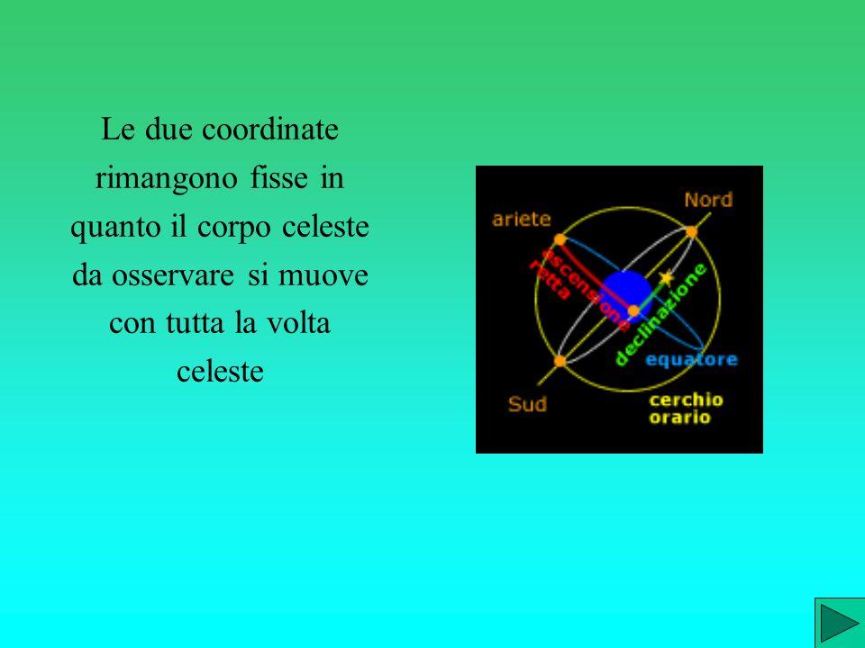 Le due coordinate rimangono fisse in quanto il corpo celeste da osservare si muove con tutta la volta celeste