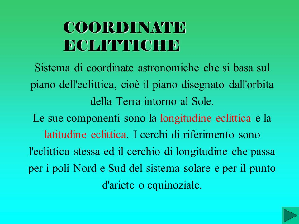 COORDINATE ECLITTICHE