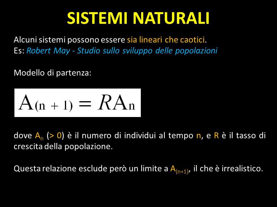 SISTEMI NATURALIAlcuni sistemi possono essere sia lineari che caotici. Es: Robert May - Studio sullo sviluppo delle popolazioni.