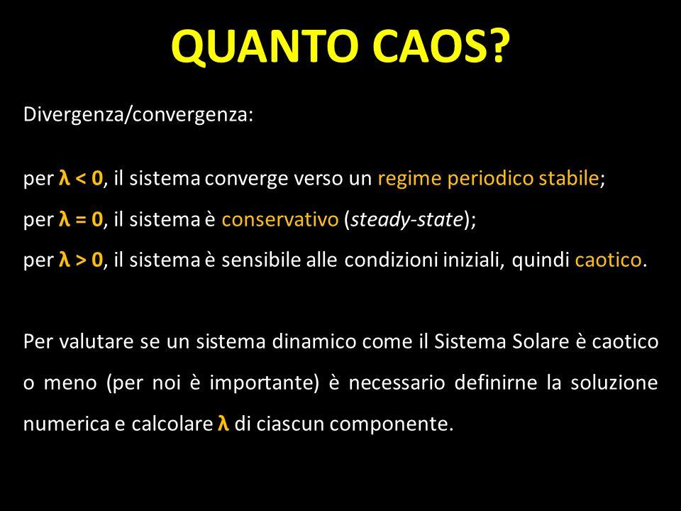 QUANTO CAOS Divergenza/convergenza: