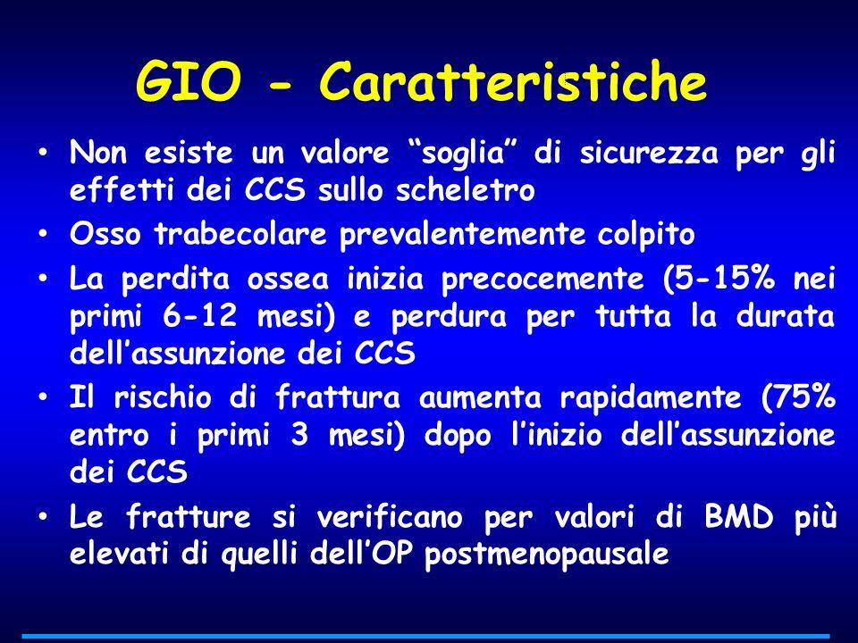 GIO - Caratteristiche Non esiste un valore soglia di sicurezza per gli effetti dei CCS sullo scheletro.