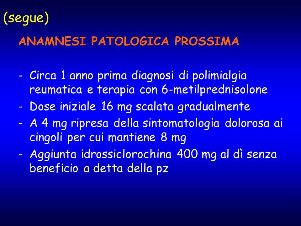 (segue) ANAMNESI PATOLOGICA PROSSIMA
