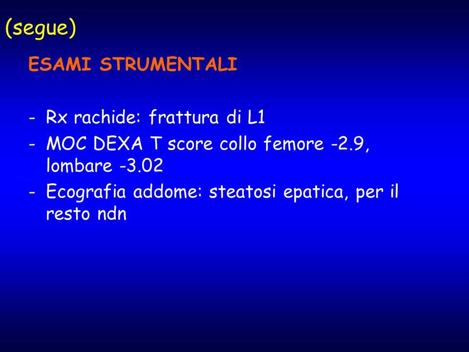 (segue) ESAMI STRUMENTALI Rx rachide: frattura di L1