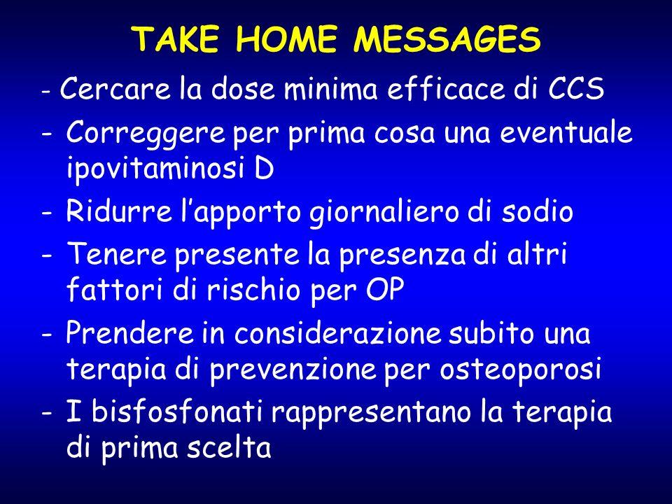 TAKE HOME MESSAGES - Cercare la dose minima efficace di CCS. Correggere per prima cosa una eventuale ipovitaminosi D.