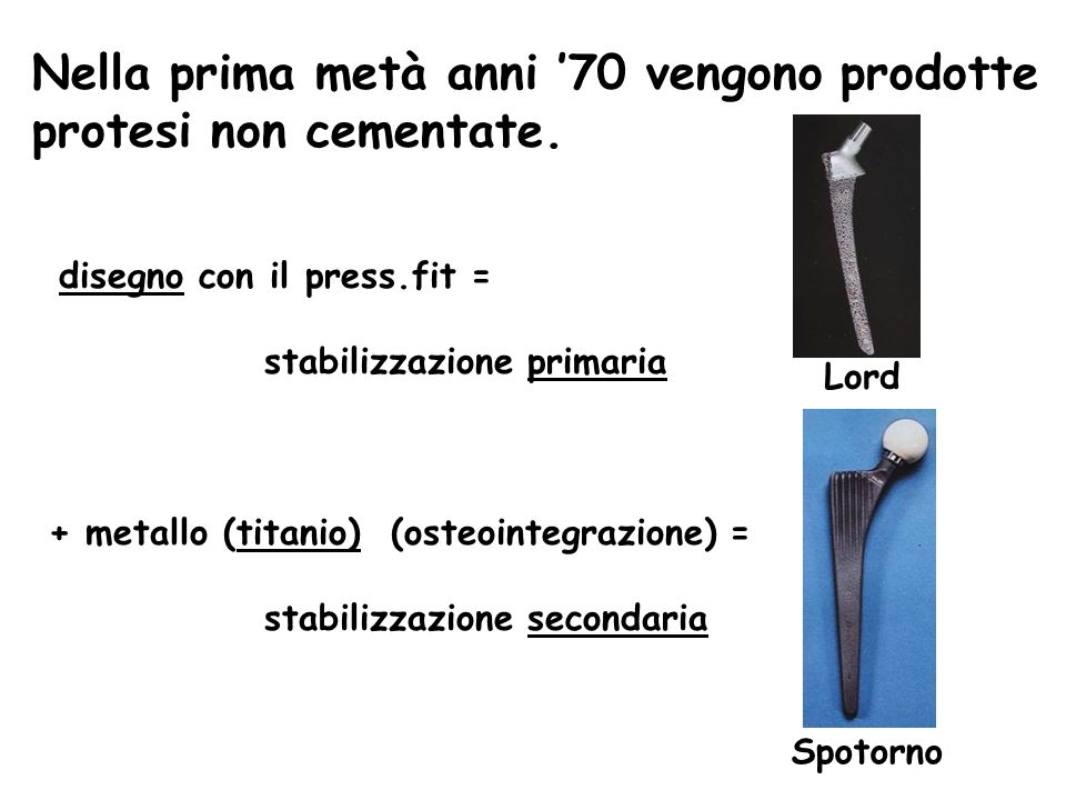 Nella prima metà anni '70 vengono prodotte protesi non cementate.