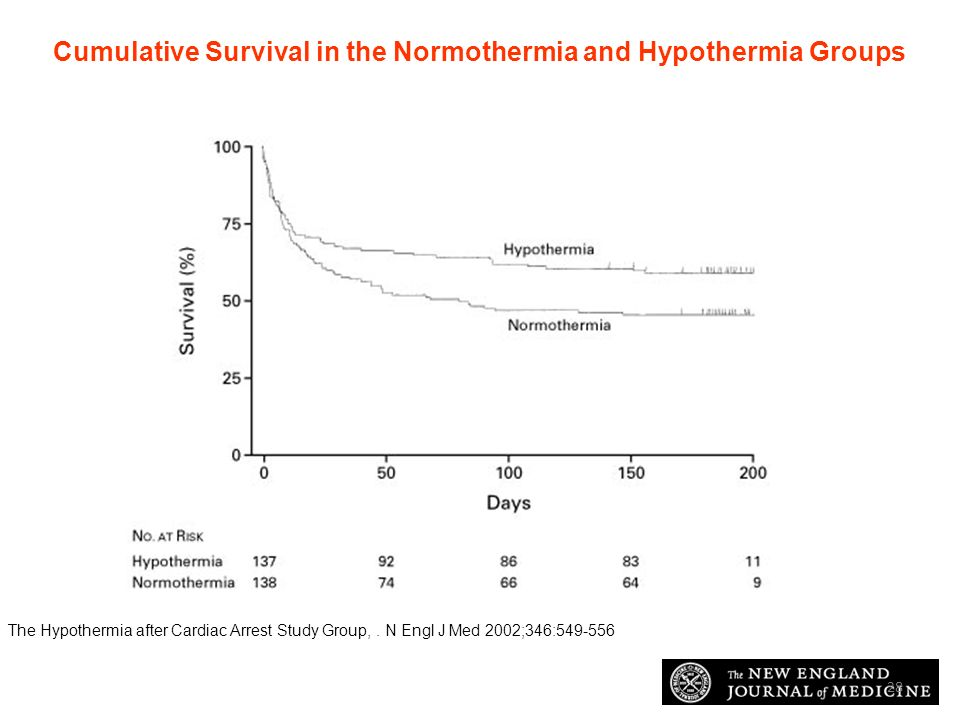 Cumulative Survival in the Normothermia and Hypothermia Groups