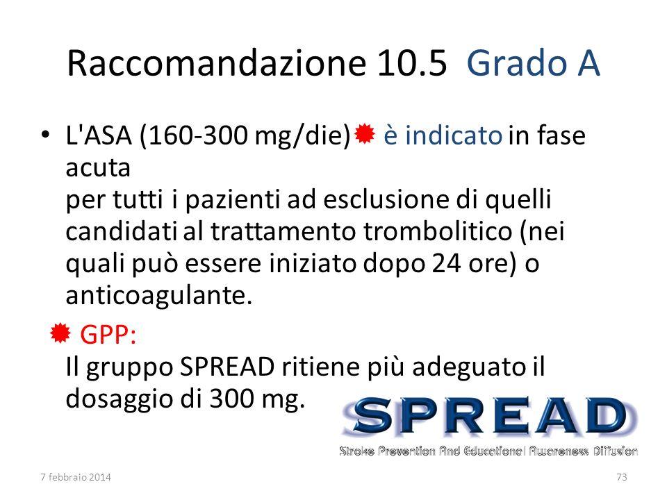 Raccomandazione 10.5 Grado A