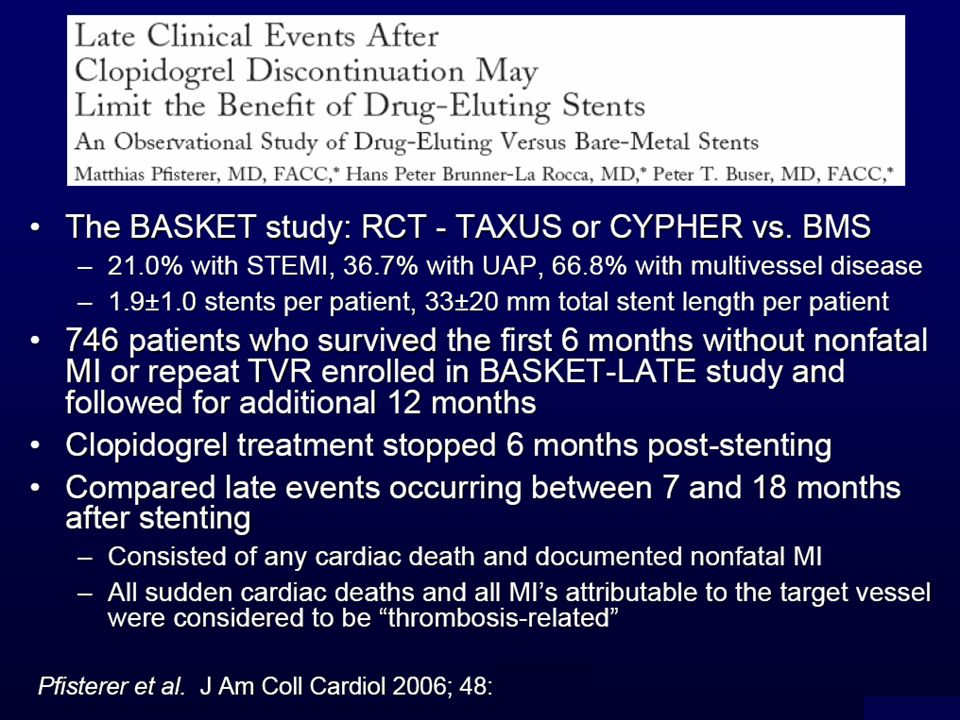 Pfister et al.hanno randomizzato 746 pazienti (1131 lesioni) tra DES e BMS.