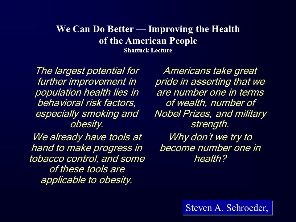Why don't we try to become number one in health