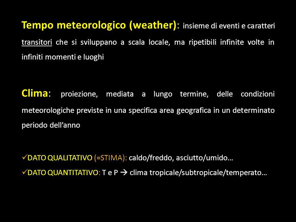 Tempo meteorologico (weather): insieme di eventi e caratteri transitori che si sviluppano a scala locale, ma ripetibili infinite volte in infiniti momenti e luoghi