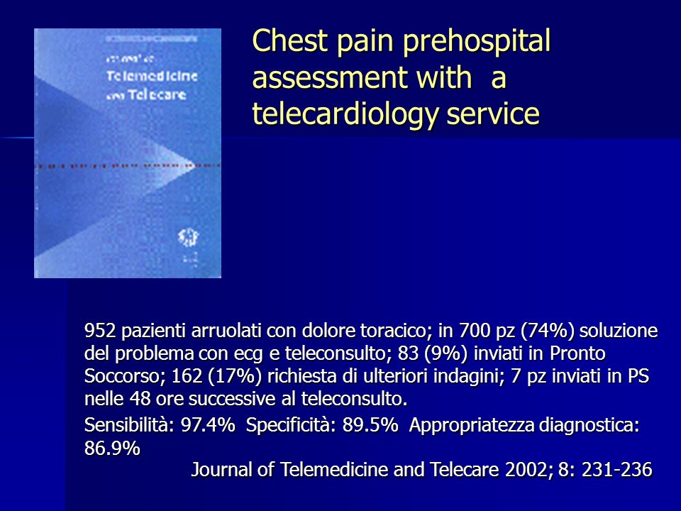 Chest pain prehospital assessment with a telecardiology service